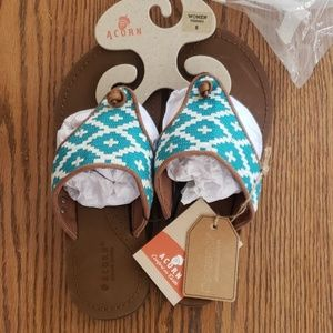 NIOB ACORN LEATHER ARTWALK FLIP FLOPSANDALS SIZE 8